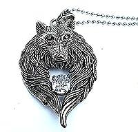 Epinki Stainless Steel Pendant Necklace, Mens Vintage Punk Rock Silver Black Wolf Head Necklace