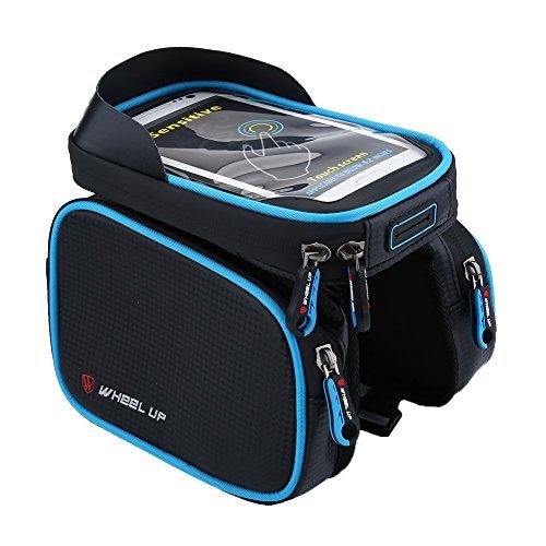 Fahrrad Tasche Wasserdichte Handytasche bis 6,2 Zoll Oberrohrtasche für Radfahrren Blau