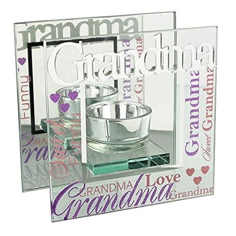 Juliana Glass 3D Word Tea Light Holder (Grandma)