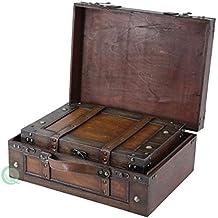 Maleta de estilo antiguo Vintiquewise /caja decorativa con correas, madera envejecida marrón, juego de 2.