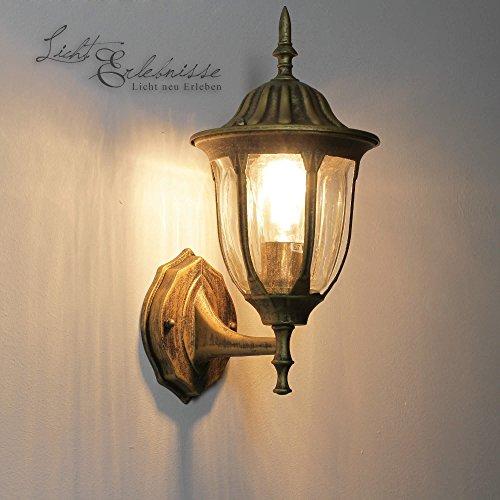 Edle Wand-Außenleuchte stehend in antik-gold Hoflampe Außenlampe Wandbeleuchtung 8372