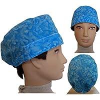 Casquette salle d'opération Blue Waters pour les cheveux courts Chirurgie soins infirmiers vétérinaire dentistes cuisine, Serviette à l'avant, dossier réglable avec tendeur à bouton et caoutchouc