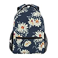 Hunihuni Watercolor Daisy Durable Backpack College School Book Shoulder Bag Daypack for Boys Girls Man Woman