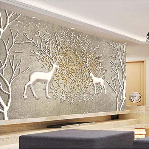 Jukunlun Benutzerdefinierte Jede Größe 3D Wandbild Tapeten Vlies Große Wandmalerei Wohnzimmer Schlafzimmer Sofa Tv Hintergrund Fototapete Elch-450X300Cm 8120 Stereo