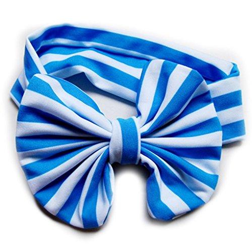 Primi 1pièce bébé noué Bow Bandeau Rayures de tête pour enfants Accessoires Cheveux (Bleu ciel)