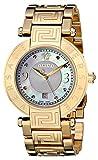 Versace Damen-Armbanduhr 35mm Armband Gold beschichtetes Edelstahl Schweizer Quarz Analog