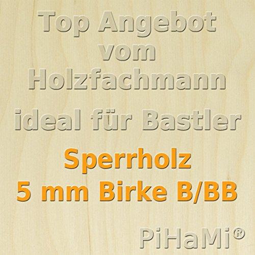 PiHaMi® 5 Platten 5 mm Birke Sperrholz Qualität B/BB (50 x 50cm) GP 22,68 € pro m²