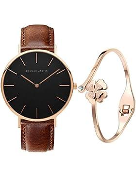 XLORDX Classic Damen-Armbanduhr Analog Quarz Braun Leder Armband, Schwarz Zifferblatt mit Elegant Rosegold Armband