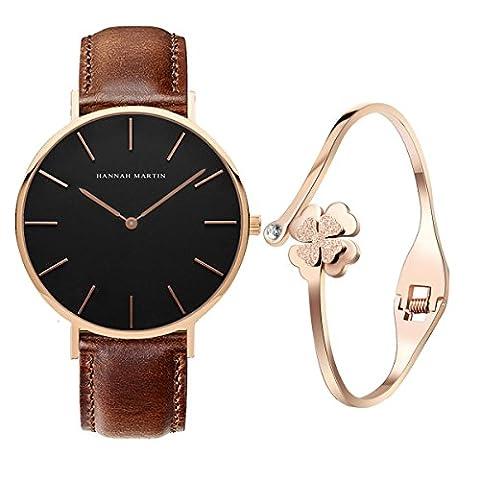 XLORDX Classic Damen-Armbanduhr Analog Quarz Braun Leder Armband, Schwarz Zifferblatt mit Elegant Rosegold