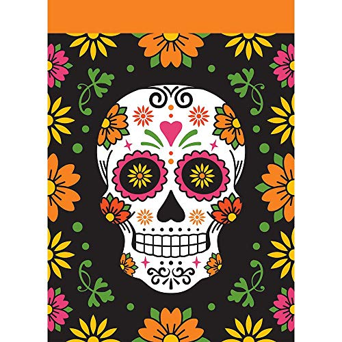 Magnolia Garden Sugar Skull Floral Orange 42 x 29 Polyester Flagge Day of The Dead Outdoor (Oma Tote Halloween)