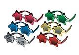 P'tit Clown 35322,gafas plástico metalizado,estrella,6surtidos, modelo aleatorio.