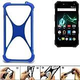 K-S-Trade Handyhülle für Archos 50 Saphir Silikon Schutz Hülle Cover Case Bumper Silikoncase TPU Softcase Schutzhülle Smartphone Stoßschutz, blau (1x)