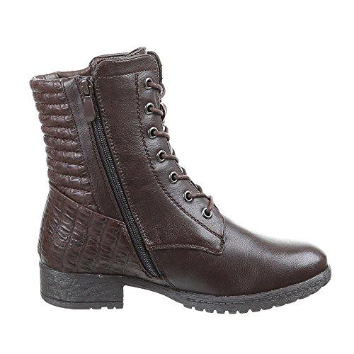 Damen Schuhe Stiefeletten Warm Gefütterte Schnür Boots Schwarz Braun 36 38 38 39 40 41 Braun