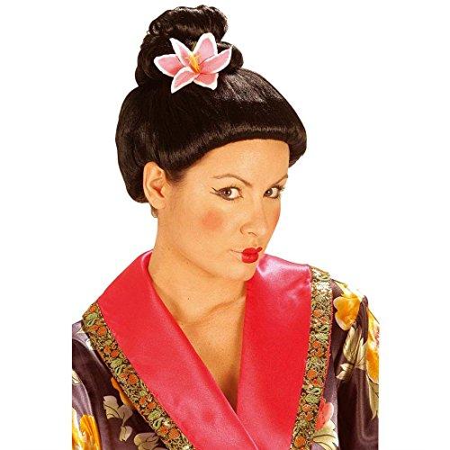 NET TOYS China Perücke Geisha mit Blüte Japanerin Perücke Chinaperücke Geishaperücke Asiatin Asia Fasnet Fasnacht Kunsthaarperücke