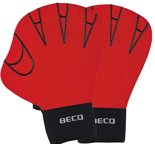 BECO Neporen Schwimmhandschuhe Neporen Handschuhe Aqua Training Gloves M rot