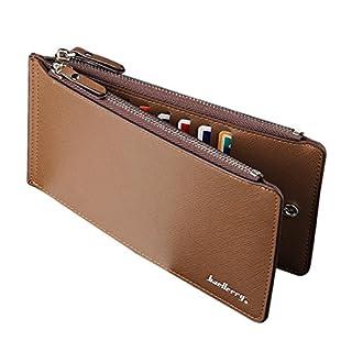 Squarex Kartenhalter / Brieftasche für Herren, Kunstleder, Business-Stil, lang, minimalistisches Design coffee AS Show