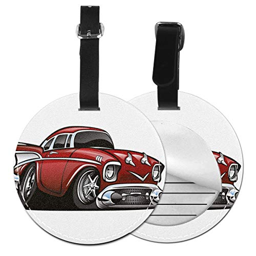 Round Travel Luggage Tags,Classic Vintage American Muscle Car Fancy Old Fashion Famous Icon Graphic Print,Leather Baggage Tag