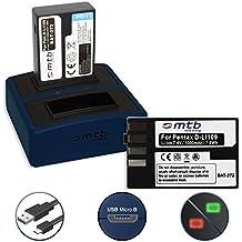 2 Batterie + Caricabatteria doppio Compact (USB) per Pentax D-Li109 | Pentax KP, K-r, K-S1, K-S2, K-30, K-50, K-70, K-500 - v. lista! (Cavo USB micro incluso)