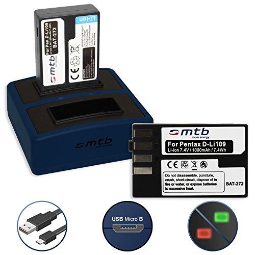 2 Batteries + Double Chargeur Compact (USB) pour Pentax D-Li109 | Pentax KP, K-r, K-S1, K-S2, K-30, K-50, K-70, K-500 - v. liste! (Cable Micro USB Inclus)