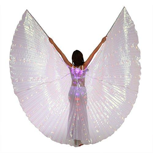 Dance Fairy Bauchtanz LED Isis Flügel Mit Stöcke/ Stangen (violett-Rot-Gelb)