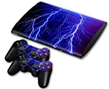 Sony PS3 Playstation 3 Super Slim Skin Design Foils Aufkleber Schutzfolie Set - Lightning Motiv