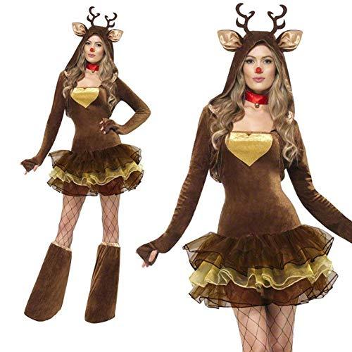 GSDZN - Adulti Miss Santa Donna Costume, Costume Renna di Natale, Compresi Abiti, Coprigambe, Busto: 90 Cm, Vita: 74 Cm, Taglia Unica,OneSize
