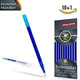 [SPECIAL EDITION] Ersatzminen für radierbare Kugelschreiber - edles blau - kompatibel zu Pilot Frixion Tintenroller - 100% prall gefüllte Minen, Strichstärke 0,7 [10 Stück] + Bonus-Stift inkl. Radierer
