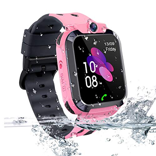 Kids GPS Tracker Smart Watch Waterproof, Vannico Touch Screen Mobile Smart Watches for Girls Boys, SOS Anti-Lost Sim Card Smartwatch with Camera, Game for Children Gift (S12B-Pink)