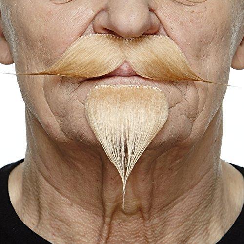 Spitzbart Kostüm Schnurrbart - Mustaches Selbstklebende Neuheit Fälscher Lenker mit Einem Ziegenbart für Erwachsene Blond Farbe