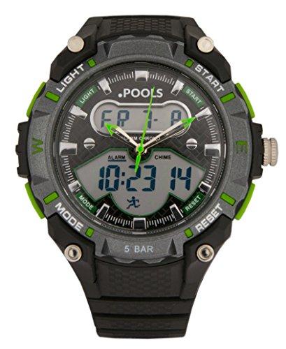 Baciami .POOLS 3165 Digital Armbanduhr mit Stopp-Uhr, Chronograph, Alarm, Datumsanzeige, 5 ATM / Bar, Schwarz-Grün, Sportuhr, 45mm