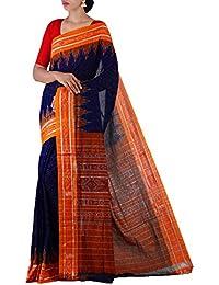 Unnati Silks Women Blue-Orange Pure Handloom Sambalpuri Cotton Ikat Saree(UNM22014)