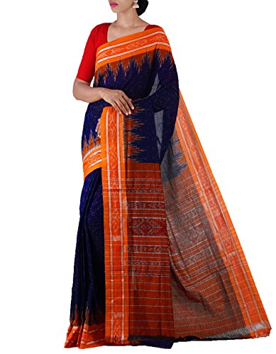 Unnati Silks Women Blue-Orange Pure Handloom Sambalpuri Cotton Ikat Saree(UNM22014)