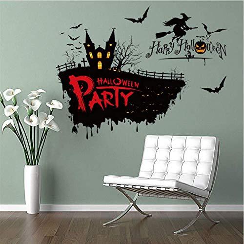WUDHF Festival Decor Halloween Hexe Kürbis Wandaufkleber Party Home Decor Schablone Wand Designs (Ziehen Halloween-kürbisse Zu)