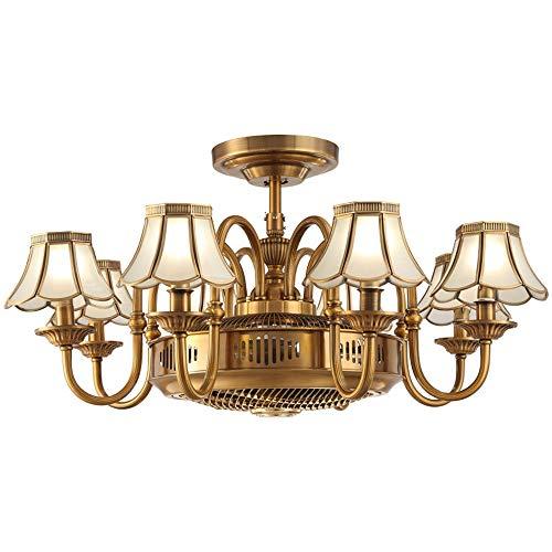 Heimtextilien American All-Kupfer Fächerförmige Lampe Schlafzimmer Kronleuchter Negative Ionen Fernbedienung Deckenventilator Licht Einfache Wohnzimmer Ventilator Licht ()