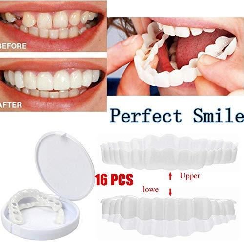 GAOwi 16 stücke kosmetische zähne temporäre Smile whitening zähne instant komfortable prothese silikon weiche Make-up prothese Pflege (ober + niedrig) (Prothesen Make Up)