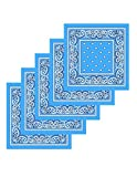 Lot de bandanas 100% Coton paisley foulard fichu - Bleu Azur - Lot de 20 identiques