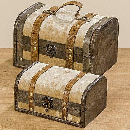 Décoration, mobilier - ensemble de 2 valises, boîtes de rangement à la maison - style colonial - environ 18/22 cm
