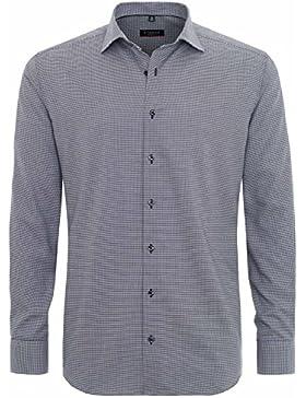 ETERNA Modern Fit Hemd Langarm Hahnentrittmuster schwarz