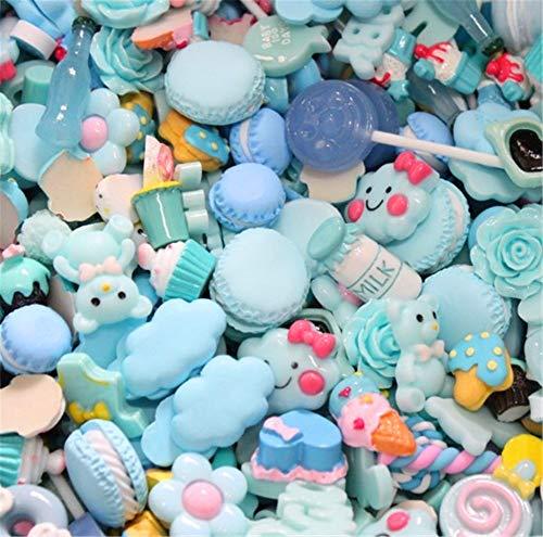 sortiert 30 Stück Cute Candy Perlen Fruit Dessert Eis Kunstharz Charms Scheiben Flache Tasten für Handwerk Zubehör Scrapbooking Telefon Fall Decor, babyblau, 10mm-25mm