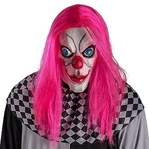 Carnival Toys 1456Máscara Payaso de terror con pelo, color rosa, talla única