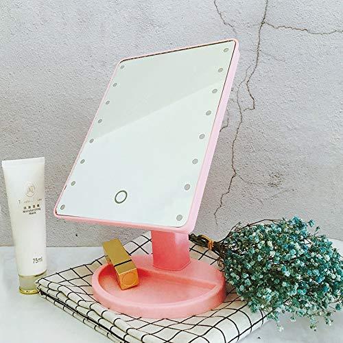 LEDHZJYLW Led Schminkspiegel Led Schminkspiegel Desktop-Touchscreen Mit Licht Spiegel Quadrat...