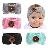 Baby Mädchen Stricken häkeln Turban warme Stirnbänder Bowknot Band für Neugeborene, Kleinkind und Kinder Mode-Schmuck (Farbe : 4 Pack)