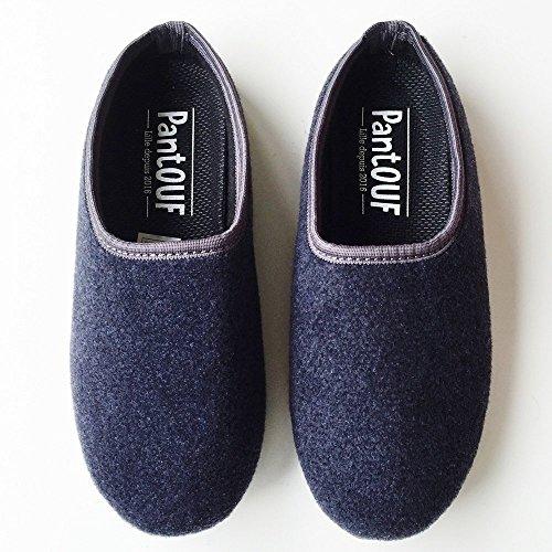 """PantOUF schöne """"angesagte"""" Hausschuhe Cambrai in wunderbar einfachem und modernem Stil, unglaublich bequem. Die Hausschuhe sind weich, leicht, warm, für Frauen/Männer - dunkelgrau/gelb Blau"""
