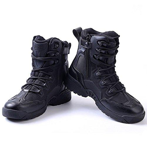 Newbestyle Chaussures de Randonnée Hommes Bottes Militaire Cuir Patrouille Combat Armée Tactique Recrues Armée Désert Sécurité Militaire Chaussure Noir