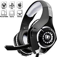 Beexcellent Casque Gaming pour PS4, Casque Gaming Professionnel Stéréo Contrôle de Volume pour PC Ordinateur (Noir+Gris)