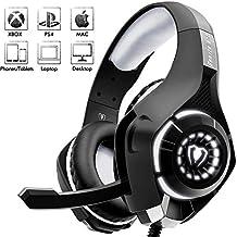 Beexcellent Estéreo Auriculares Gaming PS4 PS3 con Micrófono Luces LED Bass Surround Soft Memory Earmuffs Cancelación de Ruido Over Ear Cascos para Playstation 4, Xbox one, Ordenador Portátil, Ordenador.