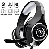 Beexcellent Stereo Gaming Headset mit Noise Cancelling Mikrofon Bass Surround Soft Speicher Ohrenschützer LED Lichter und Geflochten Kabeler Kopfhörer für PlayStation 4 Xbox One Laptop Computer usw.