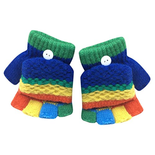 SetMei Toddler Baby Girls Boys Cute Thicken Patchwork Winter Warm Gloves For 2-6 Years old