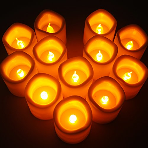 Candele led giallo ambra candela lumini xcellent global con batteria per festa di nozze club decor moderno 12-yellow