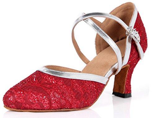 Honeystore Frauen's Satin Spitze Heels Sandalen Latin mit Schnalle Tanzschuhe Rot 42 CN (Heels Knoechelriemchen Ballett)